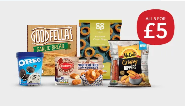 £5 Frozen Bundle: Oreo Ice Cream, Garlic Bread, Onion Rings, Nuggets, Crispy Dippers @ Co-op